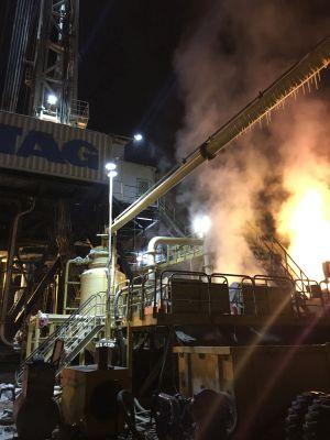 Bohrarbeiten der 4. Sektion im Januar 2017: Dampf aus der Tiefe