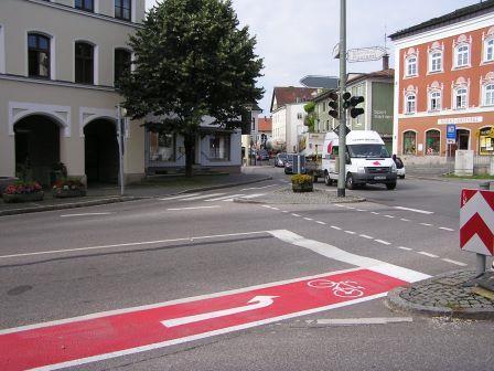 Abbiegespur für Fahrradfahrer