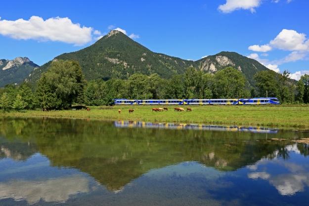 Die ET des Meridian fahren zwischen Rosenheim und München durch das schöne Inntal. Bei Niederaudorf spiegelt sich eine Zuggarnitur des Meridian hier in einem See.