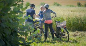 Radfahrer machen Pause