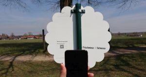Blühwiesenschild mit QR-Code