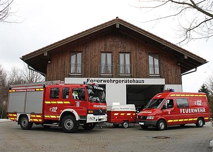 Das Feuerwehrhaus in Föching