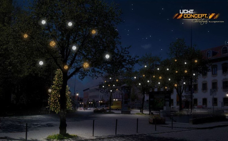 Winterbeleuchtung für Holzkirchen. Credit lichtconcept.GmbH