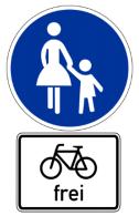 Fahrrad frei auf Gehweg