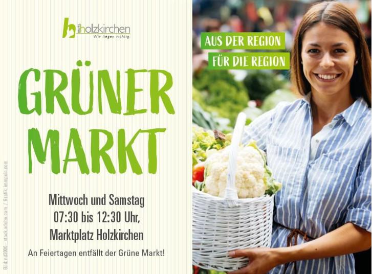 Anzeige Grüner Markt Frau mit Marktkorb in der Hand